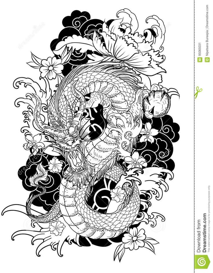 54+ Best Tattoo Design Drawings Dragon tattoo colour