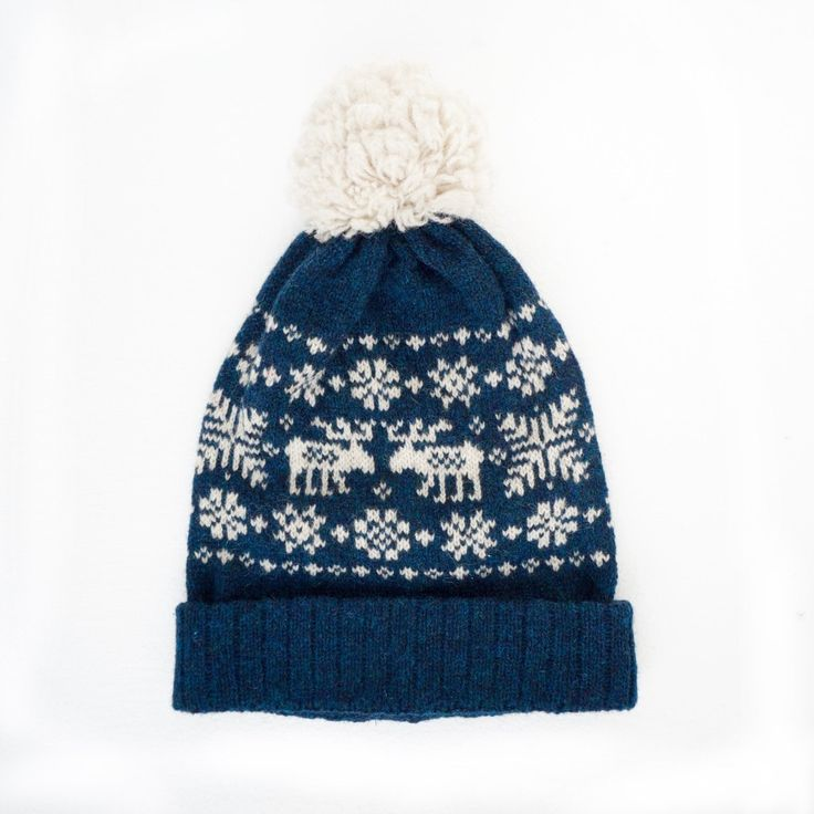 Beanie with reindeer by NordicKnit on Etsy