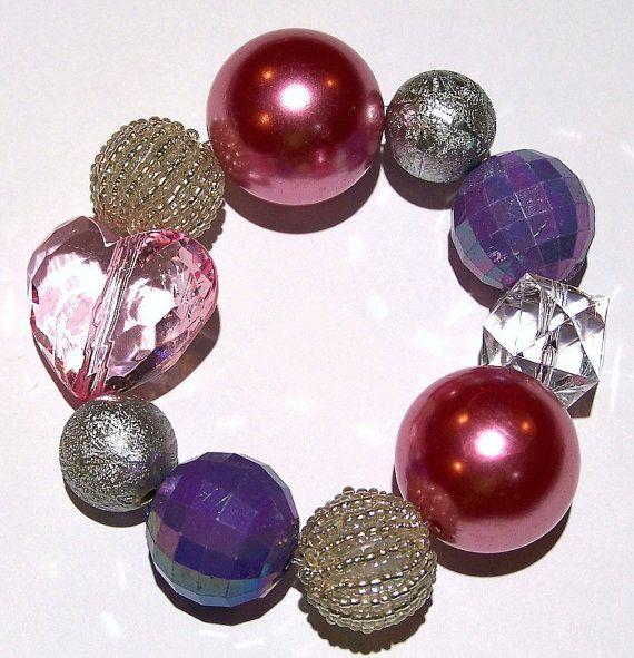 Girls Chunky Rose Purple Silver Faceted Sequin Pearl Big Bead Bracelet, Chunky Bracelet, Girls Bracelet, Big Bead Bracelet, Little Girls