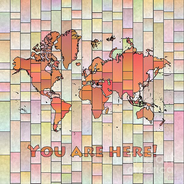 World Map Glasa Square with 'You Are Here' text in Orange and Pink by elevencorners. World map art wall print decor #elevencorners #mapglasa