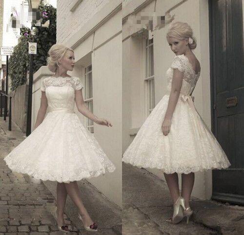 New White/Ivory Lace Tea Length Short Vintage Wedding Dress Size 6 8 10 12 14 16