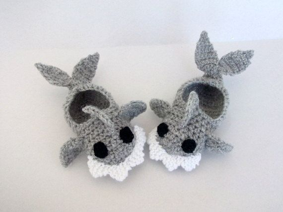 Crochet Baby Shark slippers, house shoes-Crochet Baby Booties-for Baby or Toddler-Gray baby booties-newborn crochet boy slippers-animal.  via Etsy.