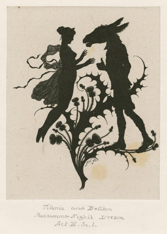 """""""Titania and Bottom."""" Silhouette illustrating A Midsummer Night's Dream, Act III, Scene 1. Engraving by Paul Konewka. Print by Albert Vogel. Folger Shakespeare Library."""