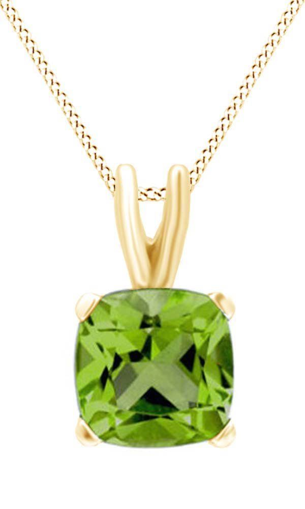 Cushion Cut Solitaire Peridot August Birthstone Pendant Necklace In 10K Yellow Gold (5 Cttw). Adds A Touch Of Nature-Inspired Beauty To Your Look Cushion Cut Solitaire Pendant Necklace In 10K Yellow Gold Makes a Standout Addition to Your Collection with 5 Carat August Birthstone Peridot. Gold is a dense, soft, shiny, malleable, and ductile metal, Gold is a synonym for wealth and money even though in the modern world it is neither. Perfect gift idea for Christmas, party, wedding…