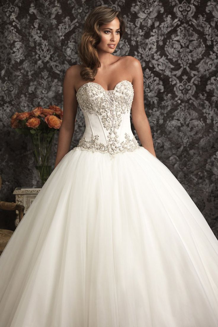 Amazing Style Wedding Dress by Allure An exquisite ballgown in satin and English Net The strapless bodice features a sweetheart neckline delicate boning