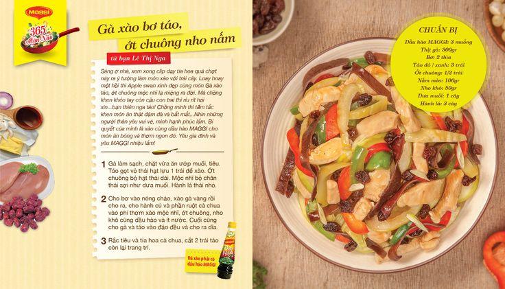 Món xào thắng giải ngày 12/4: Gà xào bơ táo, ớt chuông nho nấm từ Lê Thị Nga. Tham gia góp món xào ngon tại www.365monxao.com để có cơ hội trúng nhiều giải thưởng hấp dẫn