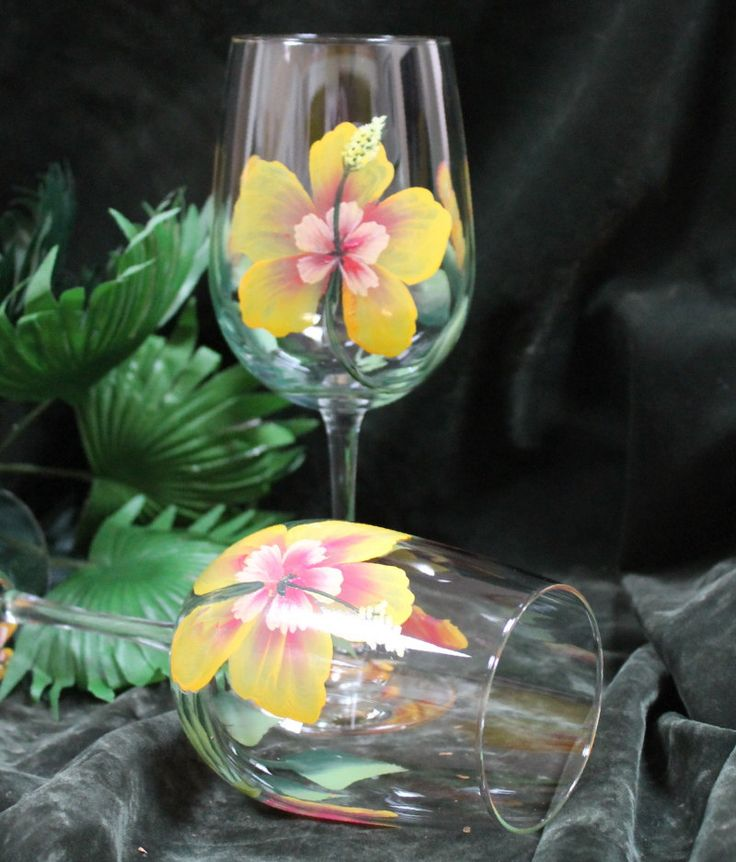 Set of 2 hand painted wine glasses yellow hibiscus by for Acrylic paint on wine glasses