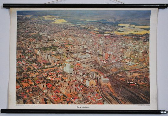 Johannesburg Vintage School Chart - Large South Africa Bird Eye View Photograph Pull Down Chart - Westermann Verlag