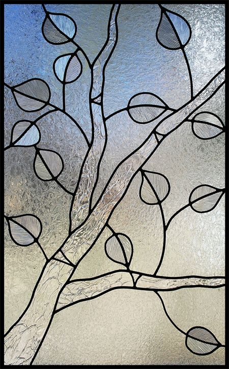 one color glass design, aspen tree