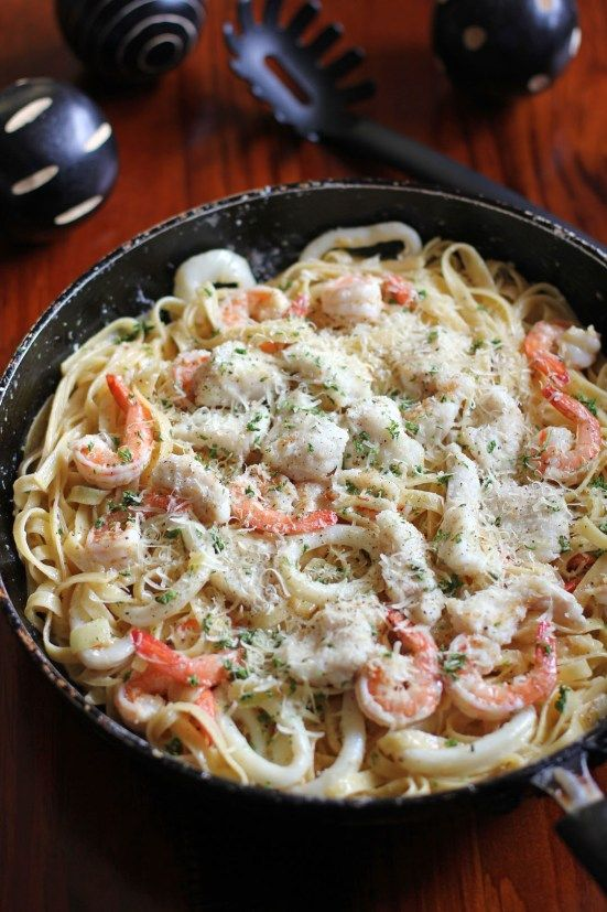 Creamy Seafood Alfredo - don't be afraid to substitute and/or mix seafood. Be daring, different fish combos blend well together, as flavors can compliment one another. **fresh seafood is always best to use, and preferred, for better results**