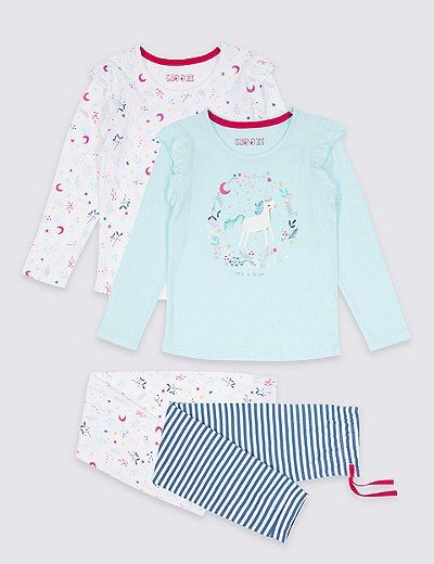 Lot de 2pyjamas à motif licorne et ours (du 9mois au 8ans) | Marks & Spencer London