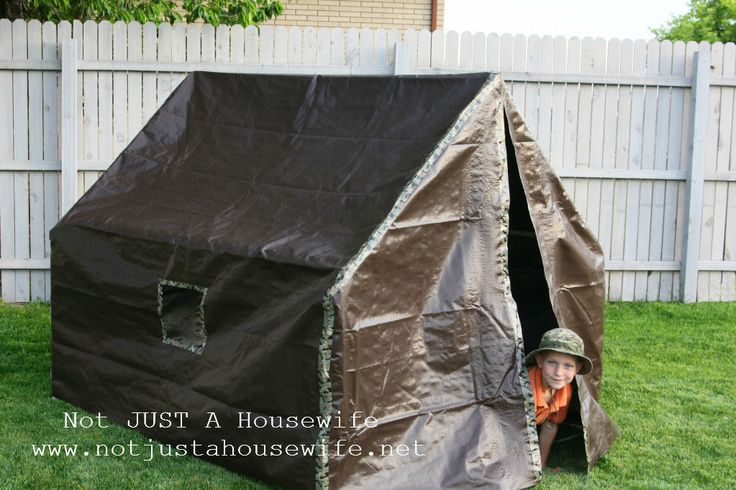 FULL INSTRUCTION VIDEO boys-army-tent made out of duct tape, a tarp, and pvc pipe.