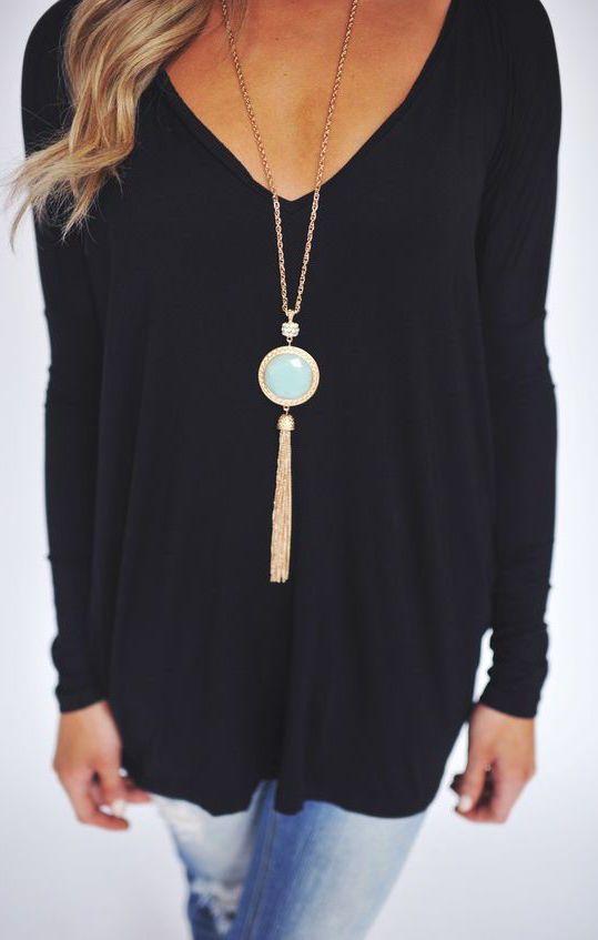 #fall #fashion / black shirt