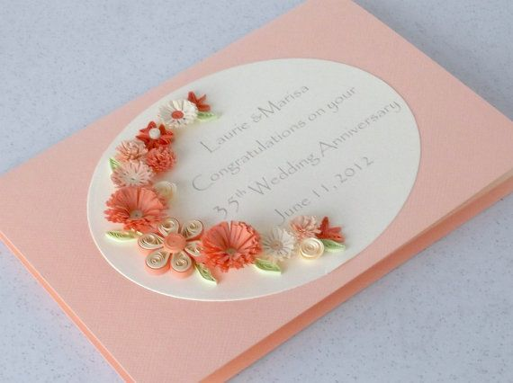 35th anniversary card, paper quilling, coral wedding