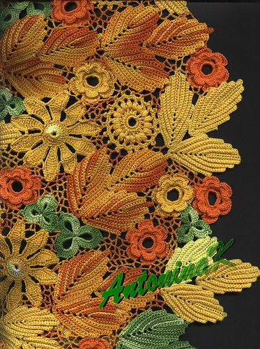 Lovely colors of Fall, I want a doily like this.