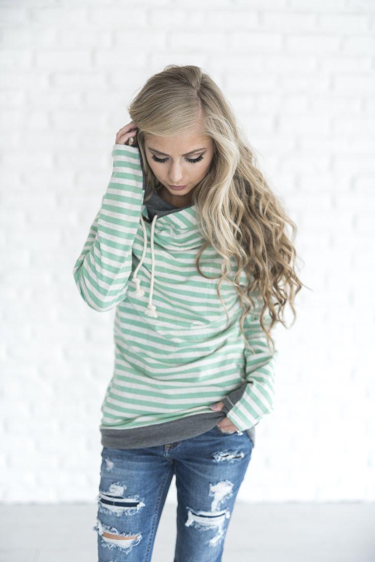 Double Hooded Sweatshirt - Mindy Mae's Market original Double Hoodie in Mint Stripe    cute hoodie, cute sweatshirt, hoodie, stripe hoodie, striped sweatshirt, mint, mint stripes, fall outfit, style, shop, fashion, outfit idea, cozy, sweater weather, blond, wavy hair, soft curls, long hair