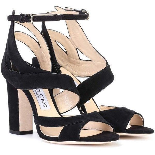Sandales à Brides Falcon 100 3-Strap en Cuir Suédé NoirJimmy Choo London Zq0wN