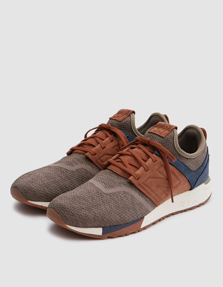 Premium low top sneaker from New Balance in Brown. Knit upper with nubuck overlays. Bootie construction. Lace-up front with flat woven laces. Heel pull tab. Tonal stitching. Perforated details. New Balance branding throughout. • Leather and Textile upp
