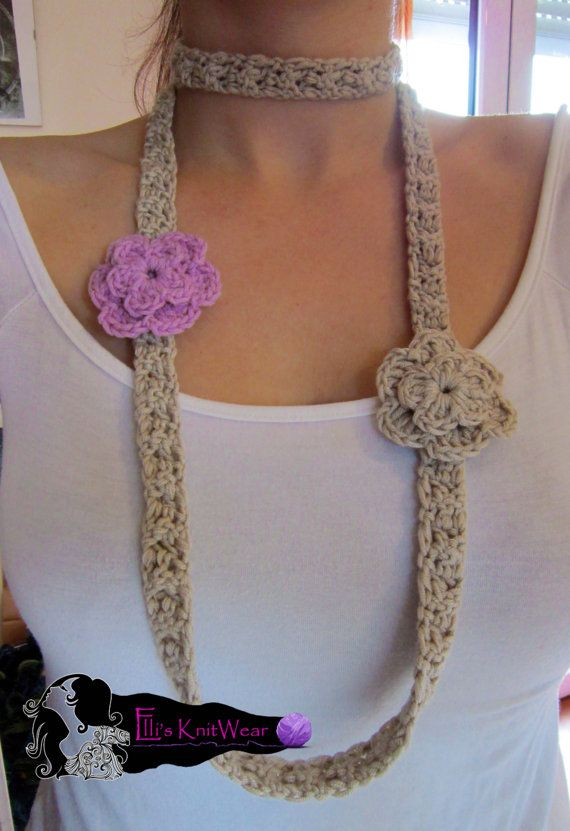 Long Crochet Necklace With Flowers by EllisKnitwearShop on Etsy