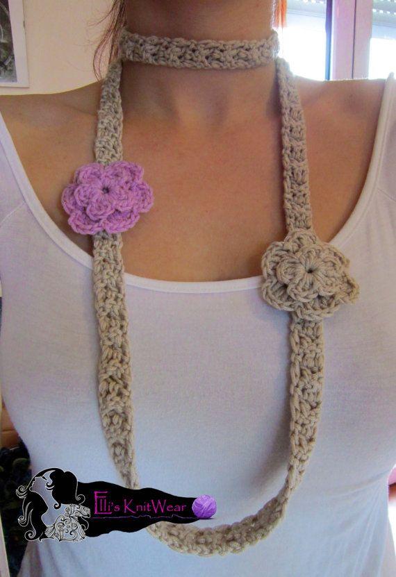 Long Crochet Necklace With Flowers by EllisKnitwearShop on Etsy