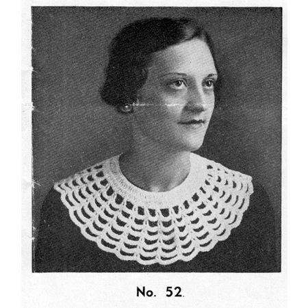 Vintage 1930's Honeycomb Crochet Collar Pattern ... A large, and rather unique design.