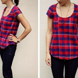 plaid shirt, Wiksten Tank pattern.