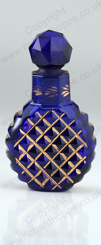 ANTIQUE c.1900 COBALT GLASS & GILT SCENT PERFUME BOTTLE. Price £165.00. For more information about this item click here: http://www.richardhoppe.co.uk/item.php?id=2944 or email us here: rhshopinformation@gmail.com