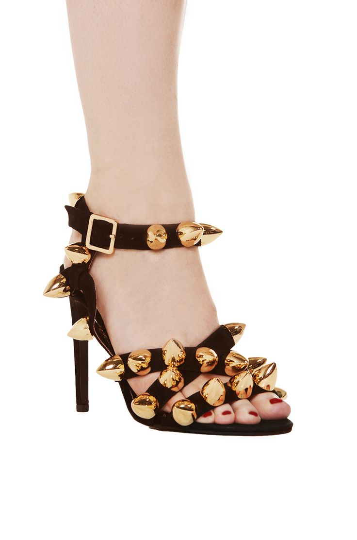 Black And Gold Heels With Spikes