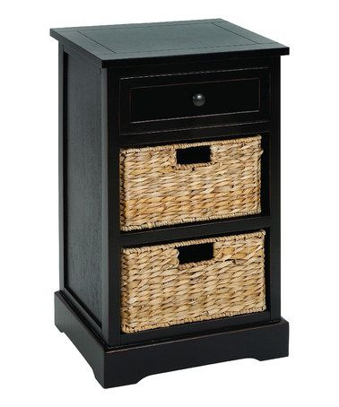 Take a look at this Black Wicker Basket Two Shelf Side