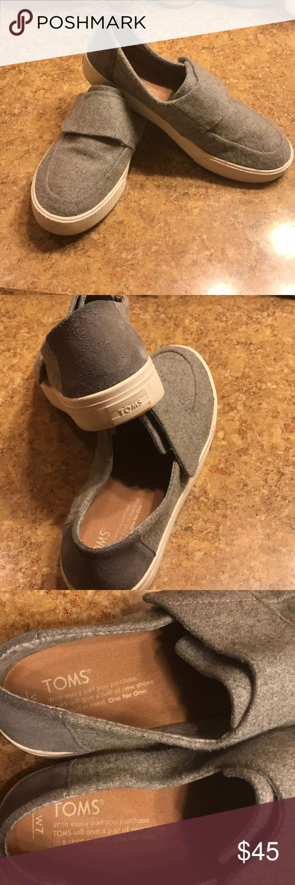 Toms Gray toms size 7  Wore once!  Comfy shoes! Toms Shoes Sneakers