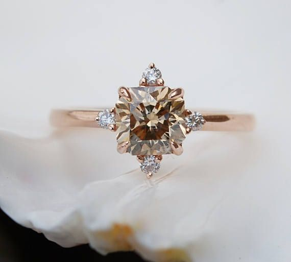 Engagement ring Champagne diamond ring 1.2ct VVS2 by EidelPrecious
