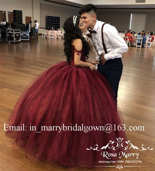 Burgundy Sweet 16 Masquerade Quinceanera Dresses 2018 Off Shoulder Ball Gown  Vintage Lace Sequined Plus Size Vestidos 15 Anos Prom Gowns White And Blue  ... c25fa09af3a3