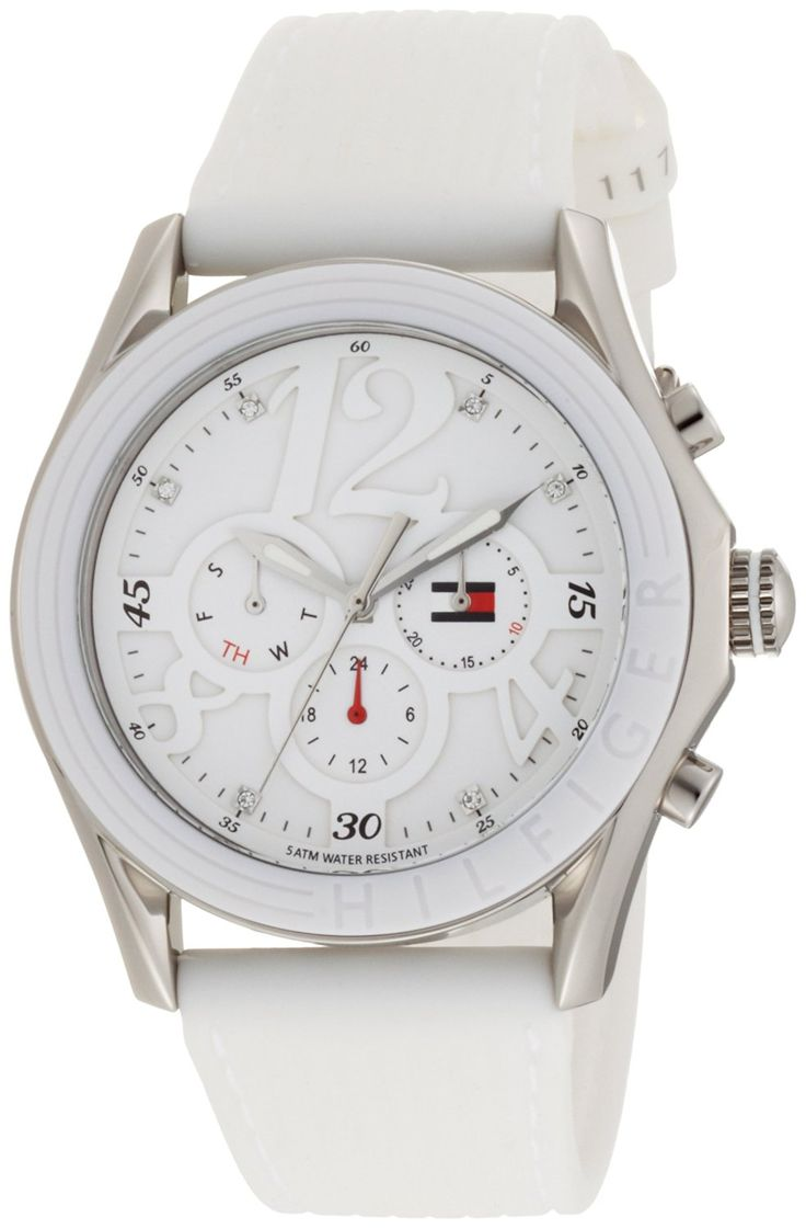 Tommy Hilfiger Women's 1780968 Sport Silver-Tone White Strap Watch * See this great watch.