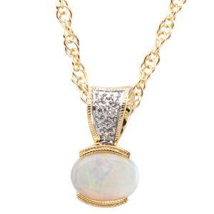 Cabochon Genuine Opal And Diamond Pendant