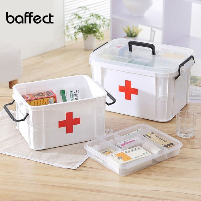 Baffect First Aid Kits Large Capacity Medicine Chest Organizer Medical Storage Box Container Box 2 La Medicine Storage Medication Storage First Aid Kit Storage