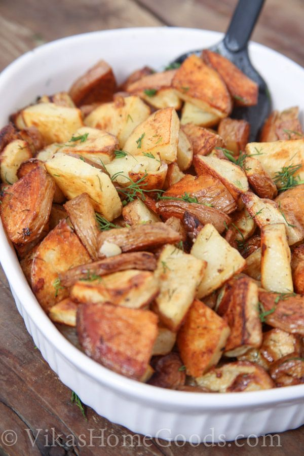 MADE THESE herb roasted red potatoes. Perfect for our little family (just enough leftovers for me and husband to take to work). Add a little more salt