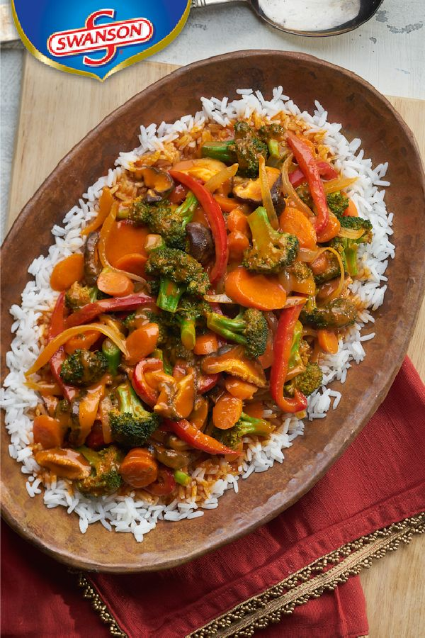 A fresh array of colorful vegetables are simmered in a traditional-style red curry sauce made with vegetable broth, coconut milk and curry paste in this flavorful dinner recipe. Serve it over fragrant jasmine rice and customize it with your favorite seasonal veggies.