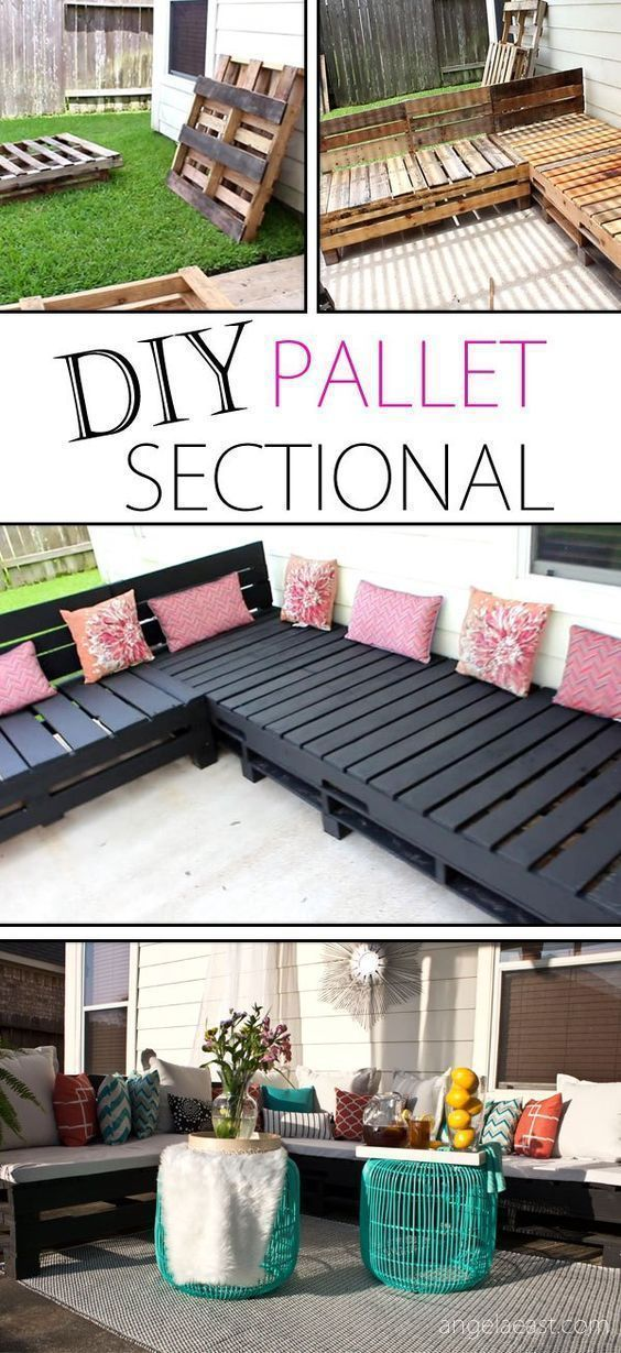 IY Pallet Sectional Indoor or Outdoor Sofa Seating Group Tutorial | Angela East - DIY Pallet Furniture - Patio Furniture Sectional | Pallet Sofa | Pallet Chair | DIY Furniture | DIY | Outdoor Living | Home Decor | Patio Makeover | Patio Decor | Deck Decorations | Porch Decorations | Gardening #HighChair #outdoorsliving