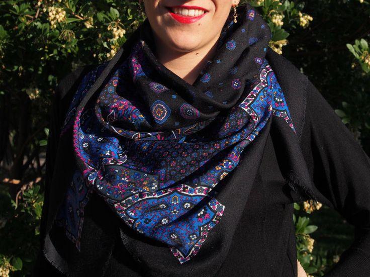 Wool Shawl VINTAGE slavic style -scarf- pashmina scarf - BLACK - Eastern Europe - Russian style - from Balkan - Babushka di LovingBalkans su Etsy