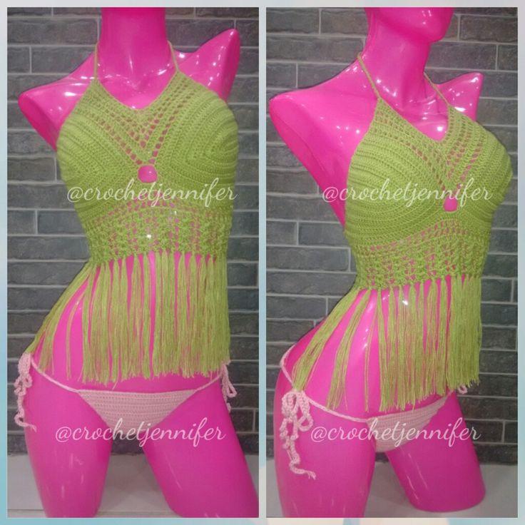 Bikini tejido flecos largos Crochetjennifer  Whatsapp3136502504