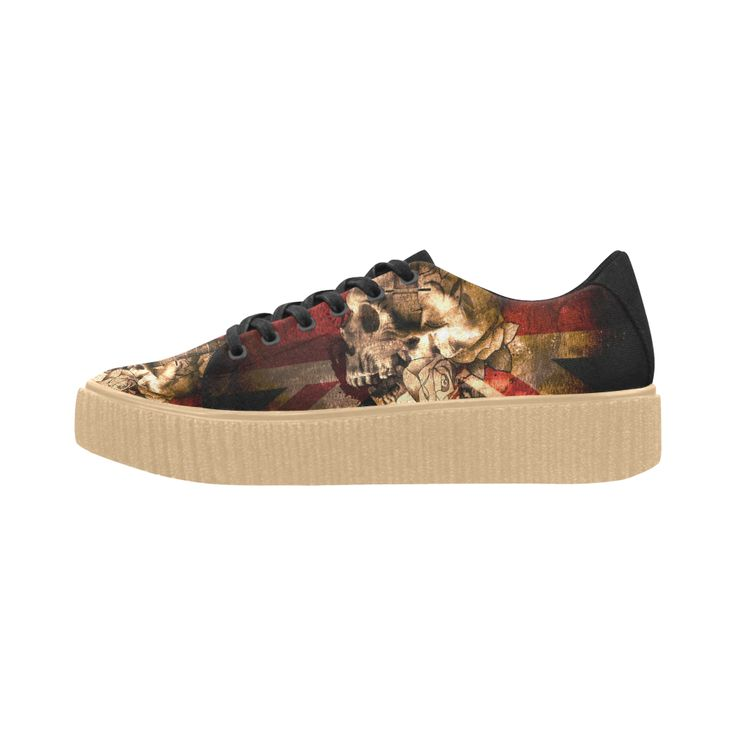 Grunge Skull and British Flag Pisces Fabric Women Shoes (Model 1306)