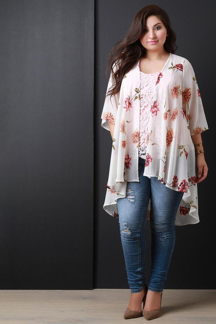 Floral Chiffon Open Front High Low Cardigan