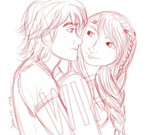 Hiccup and Astrid drawing