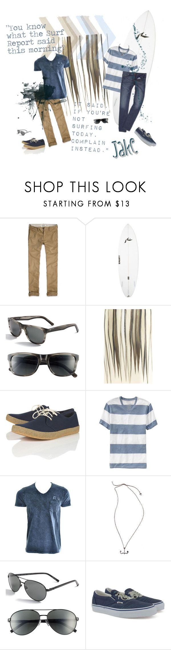 """Ready Or Not? Spring 2012 Costumes: The Rebels- Jake"" by blanche-neige ❤ liked on Polyvore featuring Abercrombie & Fitch, Rusty, Tumi, Oscar de la Renta, Old Navy, FLY53, POLICE, Vans, aviator sunglasses and polarized sunglasses"