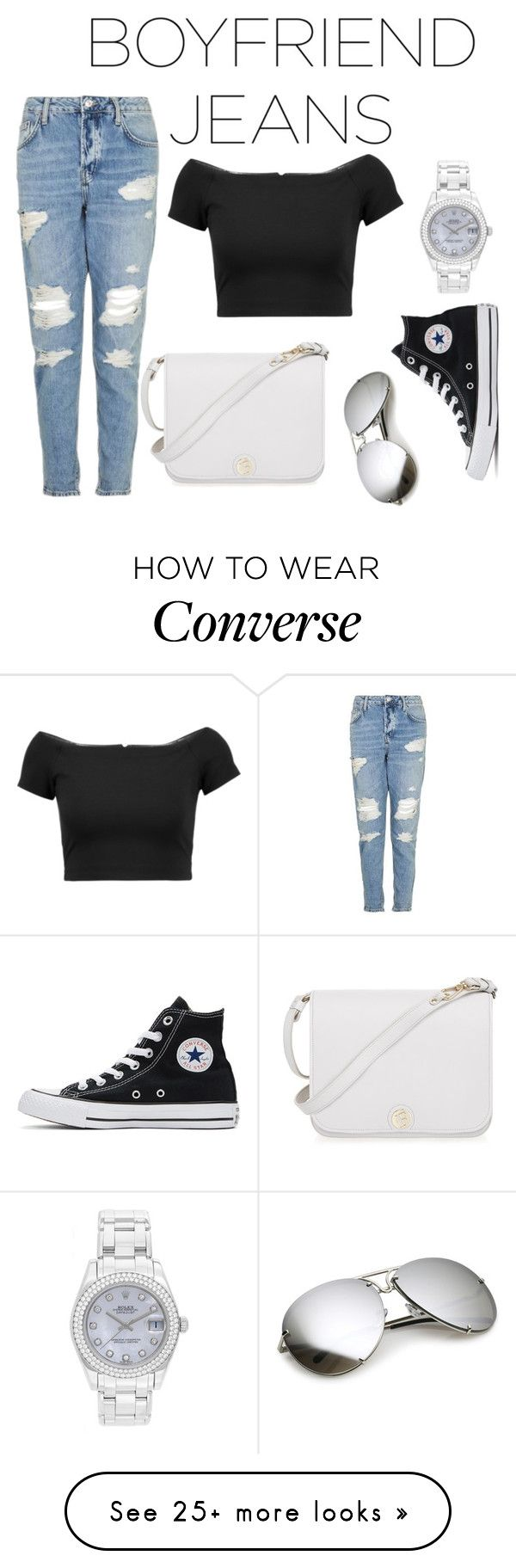 """""""Boyfriend Jeans - Style"""" by ellvediina on Polyvore featuring Topshop, Alice + Olivia, Converse, Furla and Rolex"""