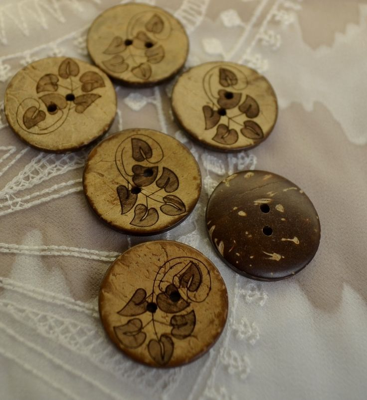 set of 6 round coconut shell buttons natural earthy,  with elegant pattern. by yourbuttonshop on Etsy