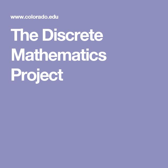 The Discrete Mathematics Project