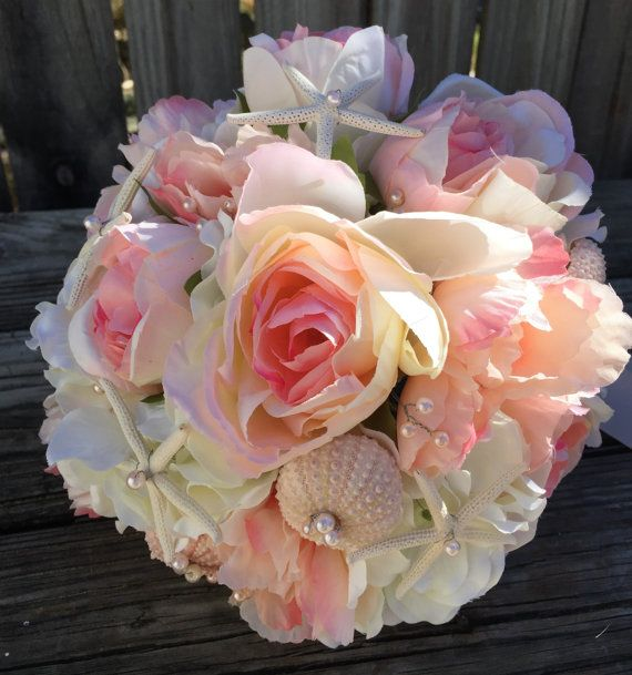 Blush Pink Beach Wedding Bouquet Sea Shell Bouquet by LCFloral