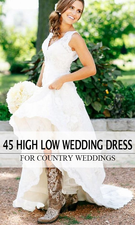 Country Lace High Low Wedding Dress Fun With Cowboy Boots