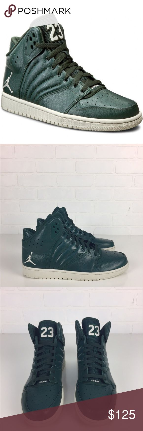 """NEW Nike Air Jordan 1 Flight 4 820135-300 Shoes 12 -Details- Retail Price: $134 Perforations for breathability  Padding at the ankle for extra comfort Encapsulated Air-Sole unit in the heel  Solid rubber outsole Slit grain and synthetic leathers Deel flex grooves for natural range of motion Designer Color: Grove Green / Light Bone Excellent Condition: No marks or scratches. Original Designer Shoebox Not Included -Measurements- Outsole length approx.: 12"""" Fit: True to size UK 11 / EU 46 / 30…"""